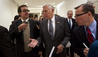 House Minority Whip Rep. Steny Hoyer, D-Md., is followed by reporters after holding a news conference on the payroll tax cut on Capitol Hill on Thursday, Dec. 22, 2011, in Washington. (AP Photo/Evan Vucci)