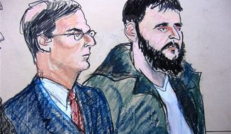 In this Jan. 9, 2010, courtroom sketch, defense attorney Robert Gottlieb, left, is seated next to his client, defendant Adis Medunjanin, at the federal courthouse in New York City. When New York undercover officers and informants were infiltrating a mosque in Queens in 2006, they failed to notice the increasingly radical sentiments of a young man who prayed there. Police also kept tabs on a Muslim student group at Queens College, but missed a member's growing anti-Americanism. Those two men and friends _ Najibullah Zazi at the mosque and Medunjanin at the school _ would go on to be accused of plotting a subway bombing that officials have called the most serious terrorist threat to the United States since Sept. 11, 2001. (AP Photo/Elizabeth Williams)