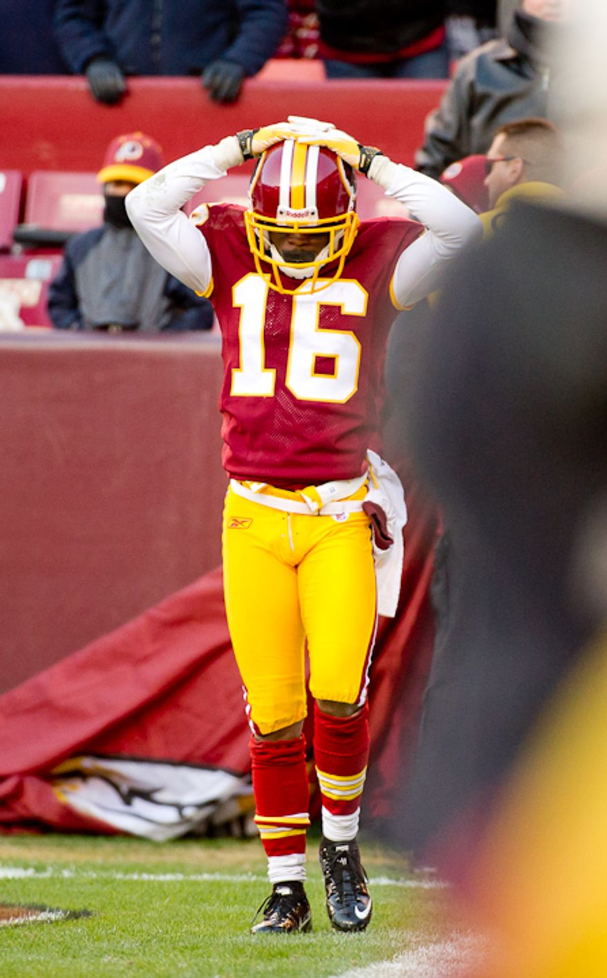 Washington Redskins wide receiver Brandon Banks (16) shows his frustration after his 59 yard touchdown run is brought back on an offensive holding call in the fourth period as the Washington Redskins take on the Minnesota Vikings at Fedex Field, Landover, Md., Saturday, Dec. 24, 2011. (Andrew Harnik / The Washington Times)