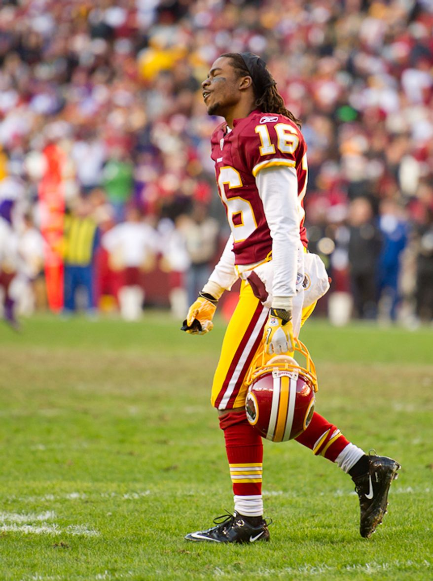 Washington Redskins wide receiver Brandon Banks (16) shows his frustration after his 59 yard touchdown run is brought back on an offensive holding call in the fourth period as the Washington Redskins take on the Minnesota Vikings at Fedex Field, Landover, MD, Saturday, December 24, 2011. (Andrew Harnik / The Washington Times)