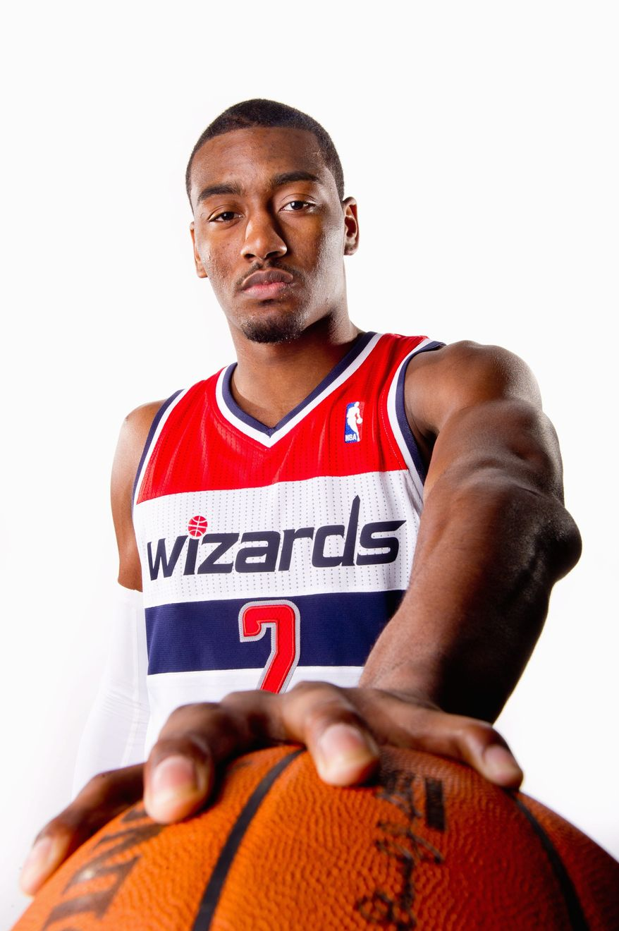 Washington Wizards point guard John Wall (2) at the Washington Wizards Media Day at the Verizon Center, Thursday, Dec. 15, 2011. (Andrew Harnik / The Washington Times)