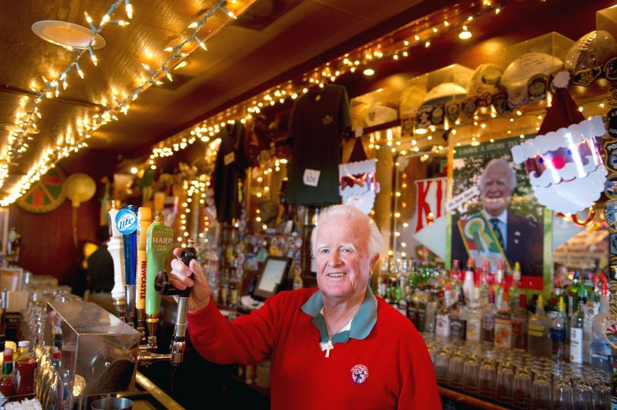 "Pat Troy, owner of Ireland's Own restaurant and pub, remembers that President Reagan had corned beef and cabbage along with a beer when he visited the pub in 1988. Mr. Troy's book, ""I Have a Story to Tell,"" is the product of decades of experiences as an Irish immigrant and businessman. (Rod Lamkey Jr./The Washington Times)"