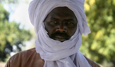 ** FILE ** Khalil Ibrahim, who led the Darfur-based Justice and Equality Movement (JEM), is seen during an interview in Abeche, Chad, in February 2007. (AP Photo/Alfred de Montesquiou, File)