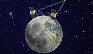 An artist's rendering shows the twin Grail spacecraft mapping the lunar gravity field. The two probes are scheduled to enter orbit around the moon over New Year's weekend. (Associated Press)