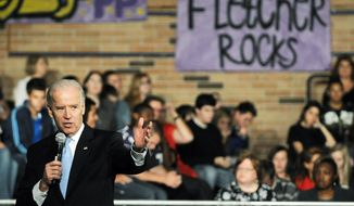 """Right now, there are no real incentives to dissuade colleges and universities from continuing to raise tuition. It's not going to be easy, but there's no excuse for complacency,"" Vice President Joseph R. Biden told high school students in Florida this month. (Florida Times-Union via Associated Press)"