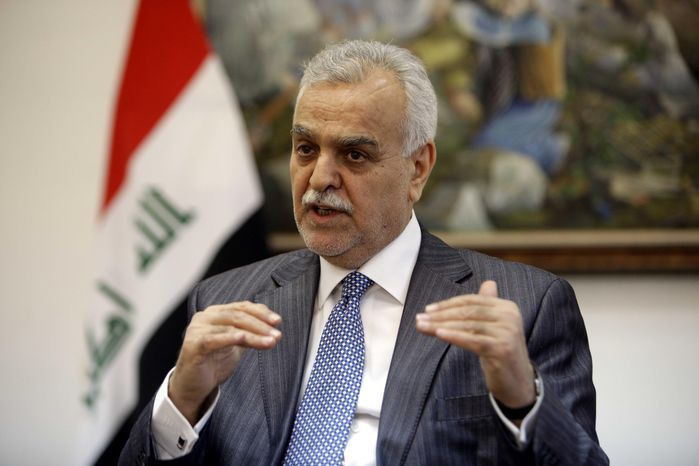 ** FILE ** Iraqi Vice President Tariq al-Hashemi speaks during an interview with the Associated Press near Sulaimaniyah, Iraq, 160 miles northeast of Baghdad, on Friday, Dec. 23, 2011. (AP Photo/Karim Kadim)