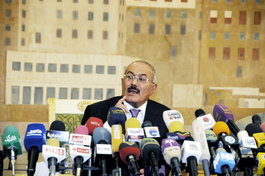 Yemen's outgoing President Ali Abdullah Saleh wants permission to travel to the U.S. for medical treatment. (Associated Press)
