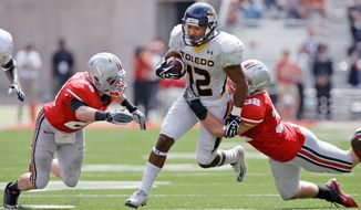 Wide receiver Eric Page has 112 catches for 1,123 yards and 10 touchdowns this season in leading Toledo to the Military Bowl at RFK Stadium. (Associated Press)