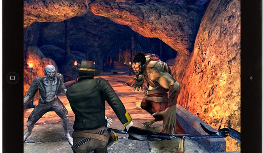 Buck Crosshaw battles demons in the iPad game Six-Guns.