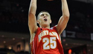Maryland center Alex Len flashed his dunking form during Midnight Madness festivities in October. Ruled ineligible for the first 10 games, Len will make his debut Wednesday against Albany. (Associated Press)