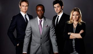 """The premiere of the Showtime series """"House of Lies,"""" starring (from left) Josh Lawson, Don Cheadle, Ben Schwartz and Kristen Bell, will be available online before airing. (Showtime)"""