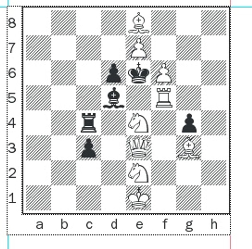 Benko's Christmas Tree Puzzle. White to mate in two.