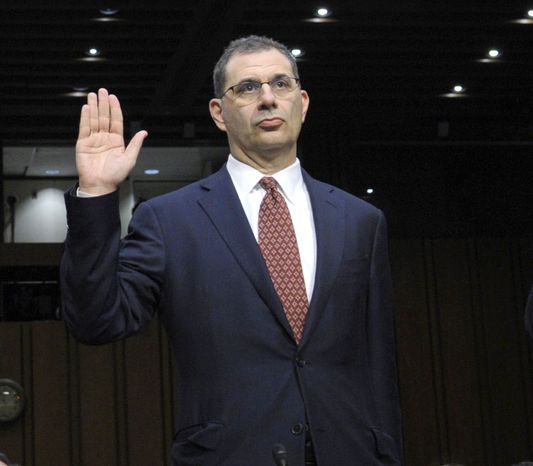 Bradley Abelow, MF Global president and COO, is sworn in Dec. 13, 2011, on Capitol Hill prior to testifying before the Senate Agriculture Committee. (Associated Press)