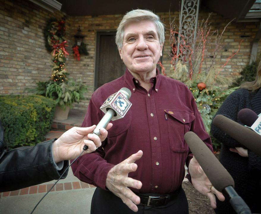 ** FILE ** Then-Sen. Ben Nelson announces in 2011 that he will not seek a third term in Congress. (Associated Press)
