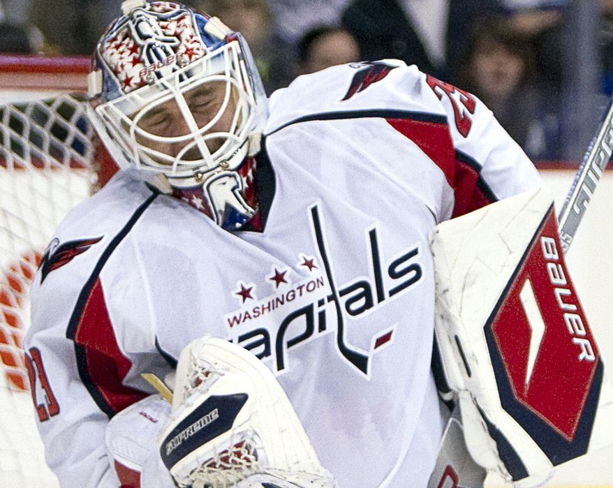 Goalie Tomas Vokoun's appearance in relief of Michal Neuvirth on Monday night was his first action for the Washington Capitals in almost two weeks. (AP Photo)