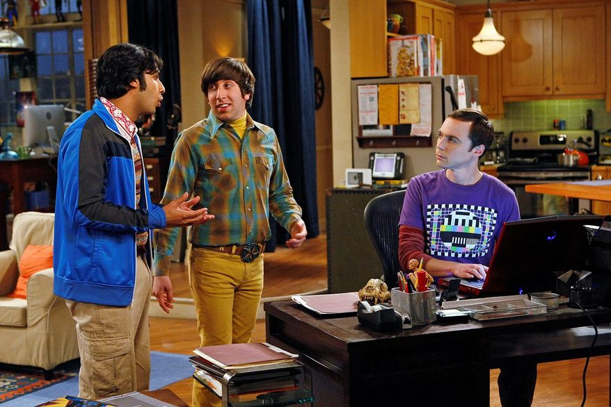 "From left, Kunal Nayyar, Simon Helberg and Jim Parsons star in ""The Big Bang Theory"" on CBS. The 100th episode airs on Jan. 19. (Associated Press)"