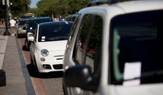 """Cars parked along Constitution Avenue Northwest this summer were among the more than 1.6 million that received tickets issued by the District in fiscal 2011. """"There's no mercy,"""" said AAA Mid-Atlantic spokesman John B. Townsend II. """"It's the No. 1 complaint of people who live, shop, dine and work in Washington."""" (The Washington Times)"""