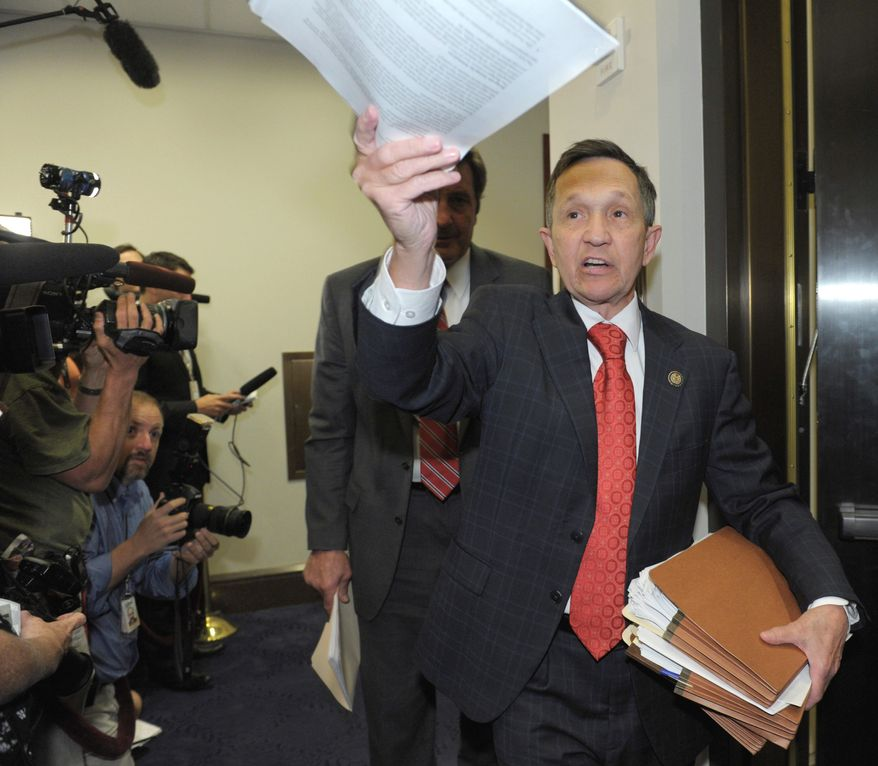 Rep. Dennis Kucinich will run against Rep. Marcy Kaptur, a fellow Democrat, in the Ohio primary for the district she has represented for 14 terms. (Associated Press)