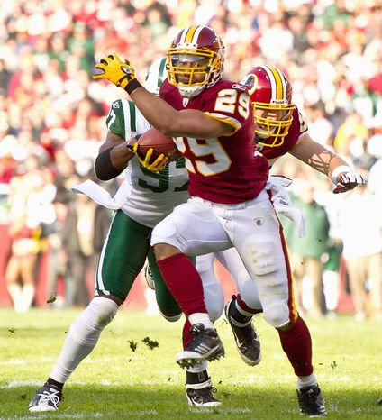 Washington Redskins rookie running back Roy Helu had three straight 100-yard games before suffering knee and ankle injuries. (Andrew Harnik/The Washington Times)