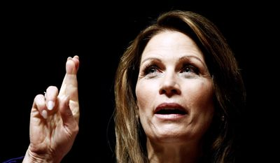 Republican presidential candidate Rep. Michele Bachmann of Minnesota speaks Dec. 29, 2011, during a campaign stop at Principal Financial Group in Des Moines, Iowa. (Associated Press)