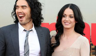 **FILE** Katy Perry and Russell Brand, seen here on April 19, 2011, are getting a divorce, the British comedian told the Associated Press on Dec. 30, 2011. (Associated Press)