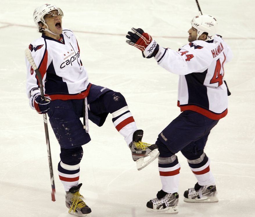 Washington Capitals' Alex Ovechkin had two goals in the 4-2 win over the Columbus Blue Jackets on Saturday night. He now has nine points in his last six games. (AP Photo/Jay LaPrete)