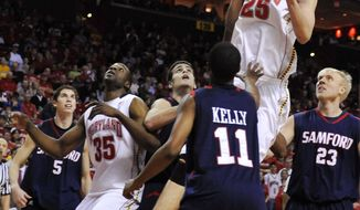Maryland's Alex Len shoots over the Samford defense in the second half, Saturday, Dec. 31, 2011, in College Park, Md. Maryland won 75-63, and Len had 13 points and seven rebounds. (AP Photo/Gail Burton)