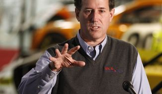 Republican presidential candidate, former Pennsylvania Sen. Rick Santorum speaks during a campaign appearance at the National Sprint Car Hall of Fame Saturday, Dec. 31, 2011, in Knoxville, Iowa. (AP Photo/Chris Carlson)
