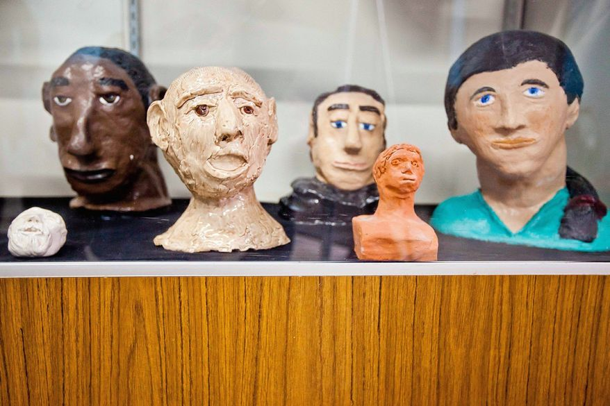 Artwork created by former patients is on display in the building's seven museum rooms, which also exhibit the superintendent's books and nurses' logs. They have to be put away in winter, when the unheated building is cold and damp.  (Associated Press)