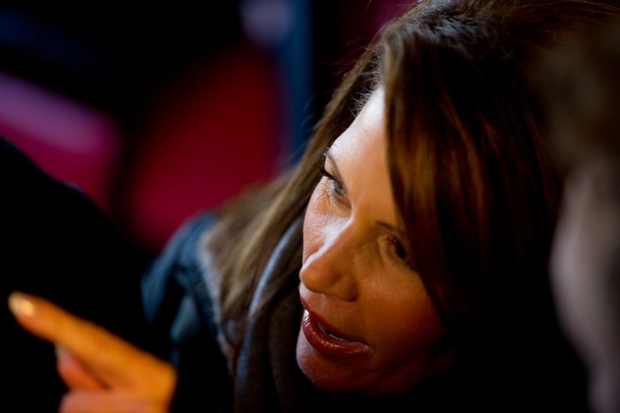 Republican presidential candidate Michele Bachmann visits Paula's Maid Rite Restaurant. (Andrew Harnik / The Washington Times)