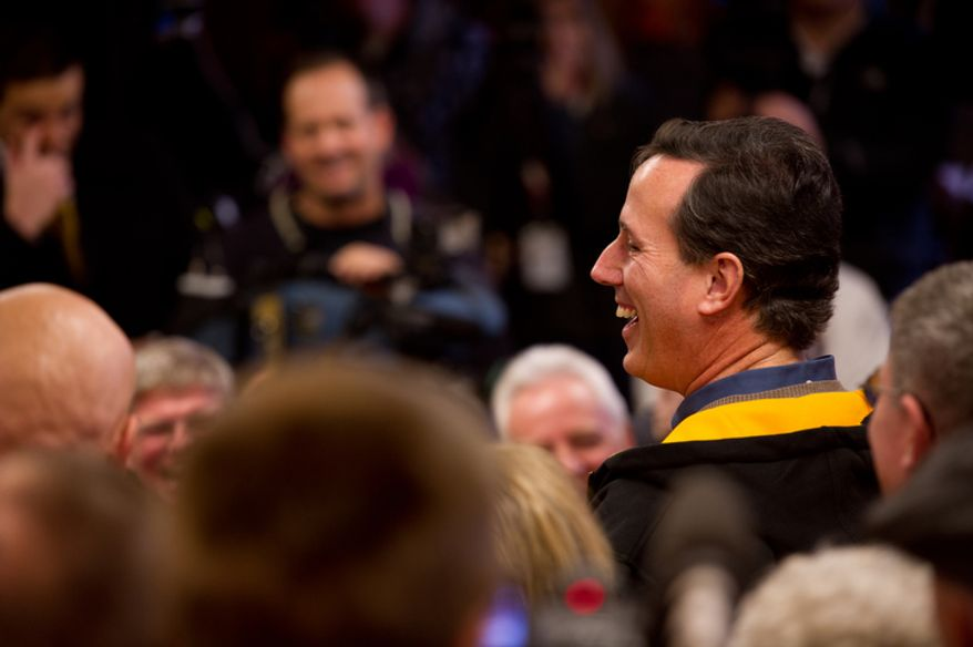 Republican presidential candidate Rick Santorum delivers a speech at a campaign stop. (Andrew Harnik / The Washington Times)