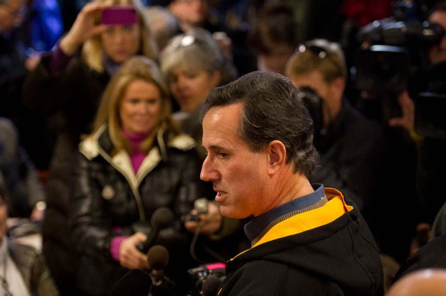 Republican presidential candidate Rick Santorum delivers a speech at a campaign stop at The Reising Sun Cafe, Polk City, IA. (Andrew Harnik / The Washington Times)