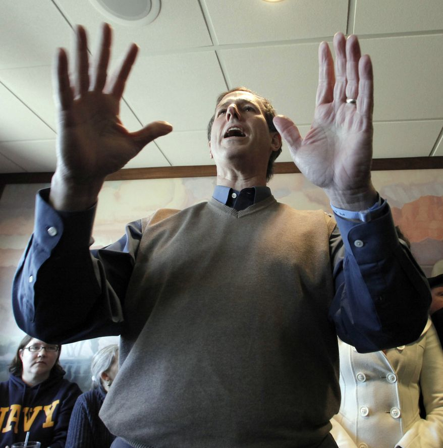 Republican presidential candidate, former Pennsylvania Sen. Rick Santorum speaks at a campaign stop at Pizza Ranch in Boone, Iowa, Monday, Jan. 2, 2012. (AP Photo/Charlie Riedel)