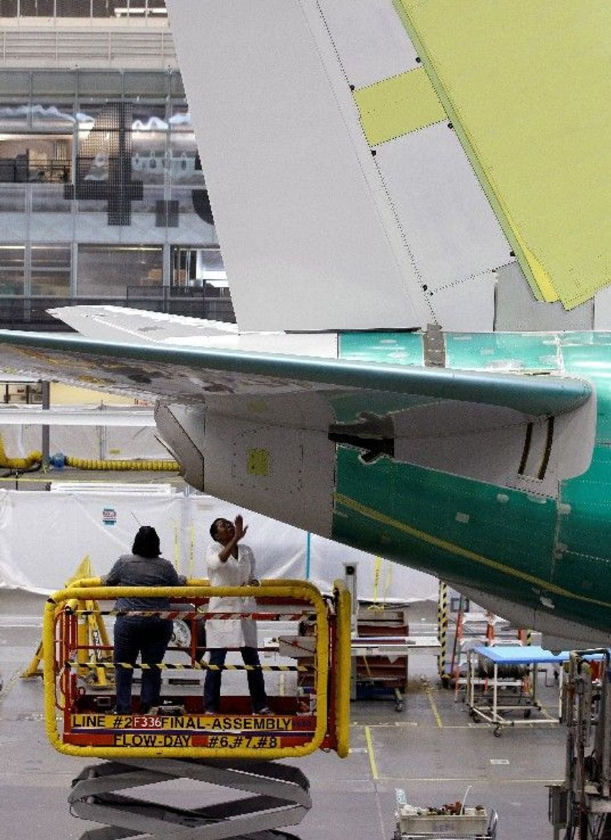 Employees at the Boeing assembly plant in Renton, Wash., work on a 737. U.S. manufacturers' and builders' December satististics showed hopeful gains. (Associated Press)