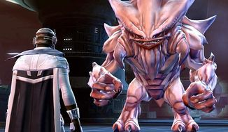 A smuggler challenges a big beast in the PC video game Star Wars: The Old Republic.