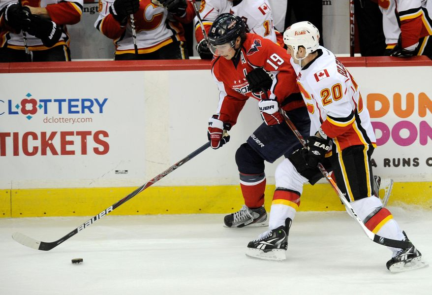 Center Nicklas Backstrom (19) is the Capitals' scoring leader with 13 goals and 29 assists while playing in all 38 games. Backstrom suffered a head injury during a 3-1 win over Calgary on Tuesday night. (Associated Press)