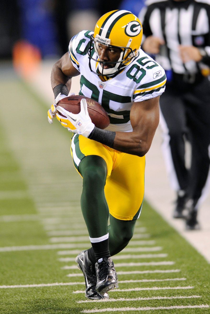 Green Bay Packers receiver Greg Jennings had 67 catches for 949 yards and nine touchdowns in 13 regular-season games. (Associated Press)