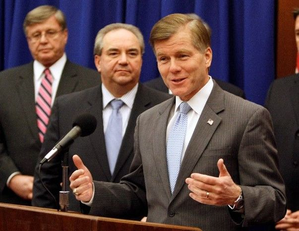 ** FILE ** In this Jan. 4, 2012, file photo, Virginia Gov. Bob McDonnell (right) and Lt. Gov. Bill Bolling (center) announce their legislative agenda in Richmond. (Associated Press)
