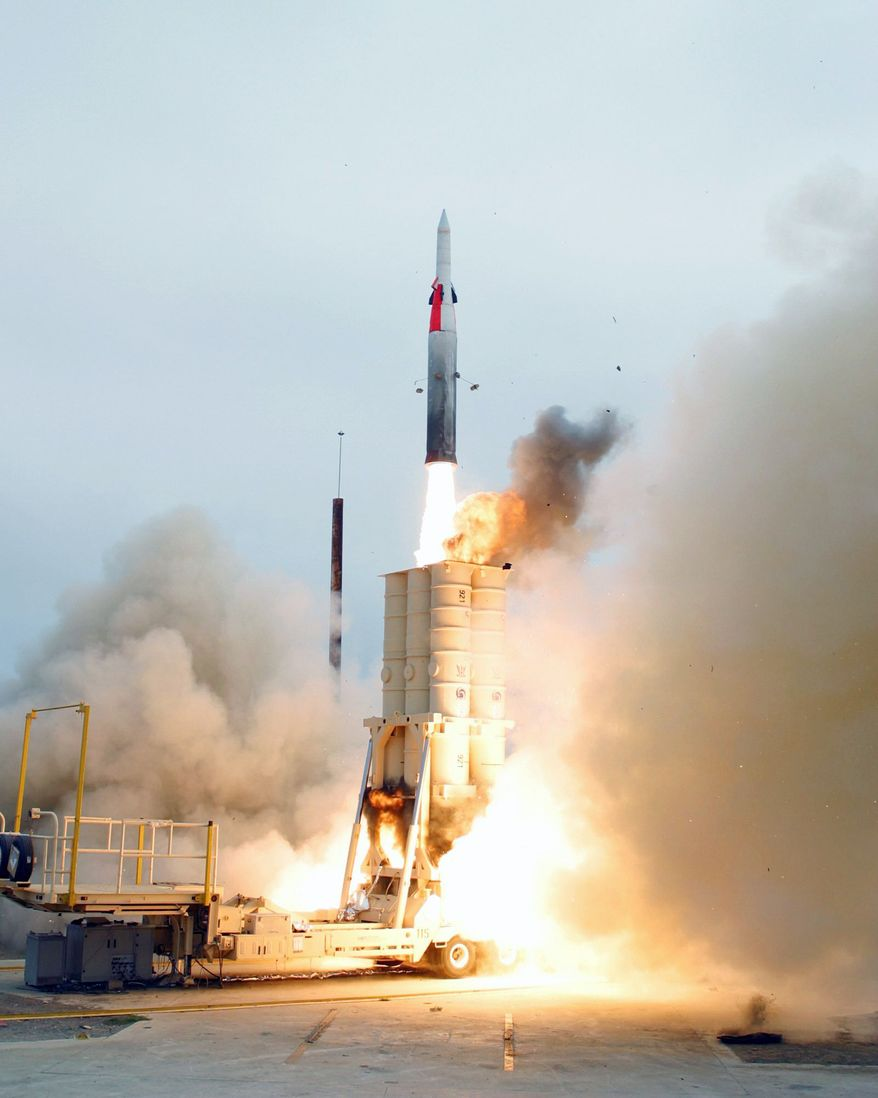 ** FILE ** An anti-ballistic missile then under development by the U.S. and Israel lifts off in a test just off the California coast in July 2004. (Associated Press)