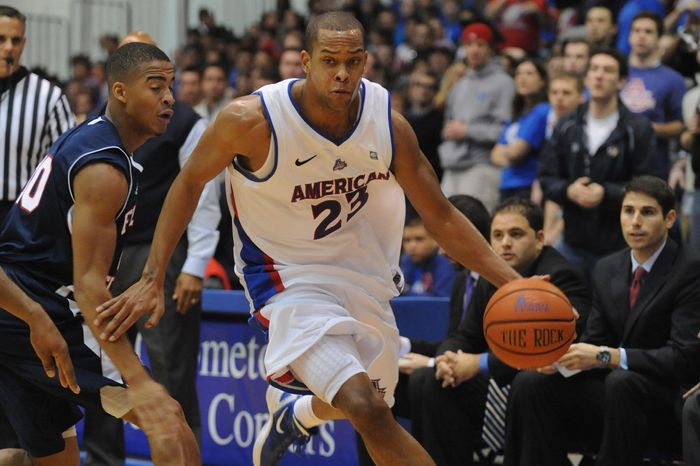 American's Charles Hinkle is leading the Patriot League in scoring at 20.6 points a game after averaging just 4.5 points in 13.1 minutes for the Eagles last season. (American University Athletics)
