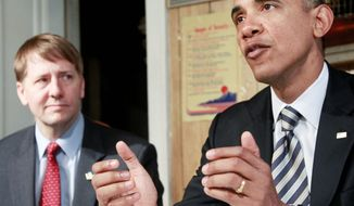 President Obama, accompanied by Richard Cordray, visits a home in Cleveland on Wednesday, Jan. 4, 2012. In a defiant display of executive power, Mr. Obama bucked Senate Republican opposition to appoint Mr. Cordray as the nation's chief consumer watchdog. (Associated Press)