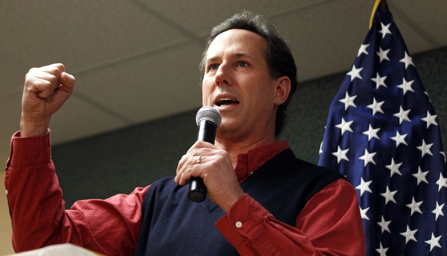 Republican presidential candidate and former Pennsylvania Sen. Rick Santorum pumps his fist Jan. 4, 2012, during a campaign stop in Manchester, N.H. (Associated Press)