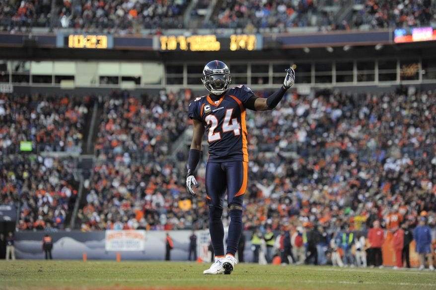 Denver Broncos cornerback Champ Bailey calls to the crowd to get loud against the Kansas City Chiefs the regular-season finale, Sunday, Jan. 1, 2012, in Denver. (AP Photo/Jack Dempsey)