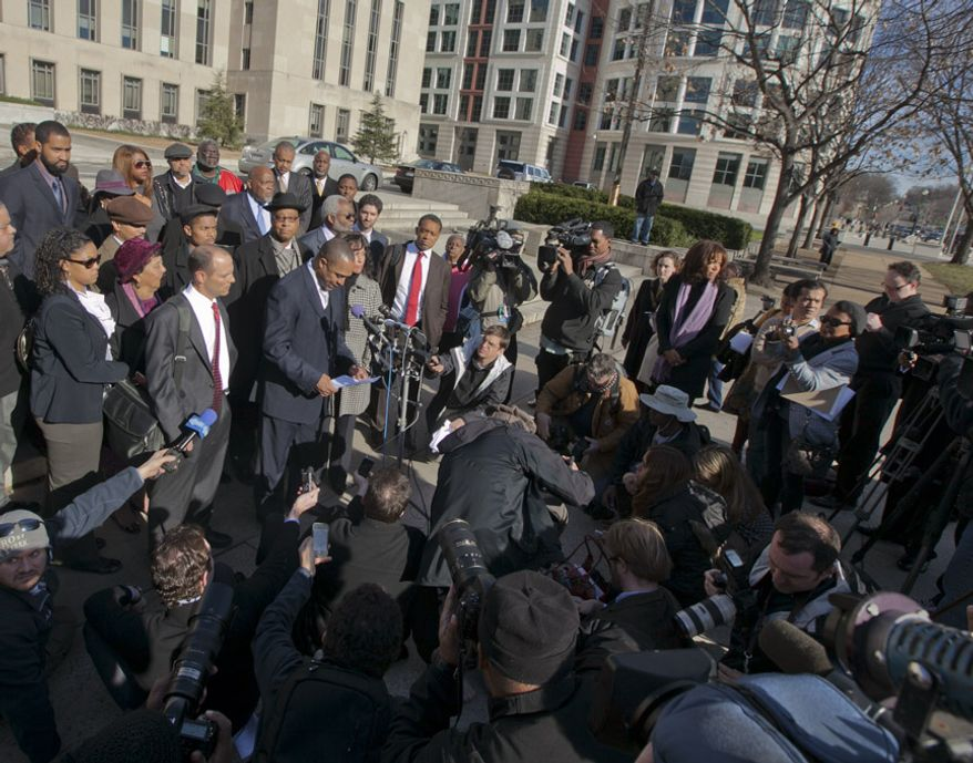Former D.C. Council member Harry Thomas Jr., 51, speaks with reporters Jan. 6, 2012, outside the U.S. District Courthouse in D.C., after pleading guilty to felony counts of stealing more than $350,000 in taxpayer funds and failing to report income on his tax returns. (Andrew S. Geraci/The Washington Times)