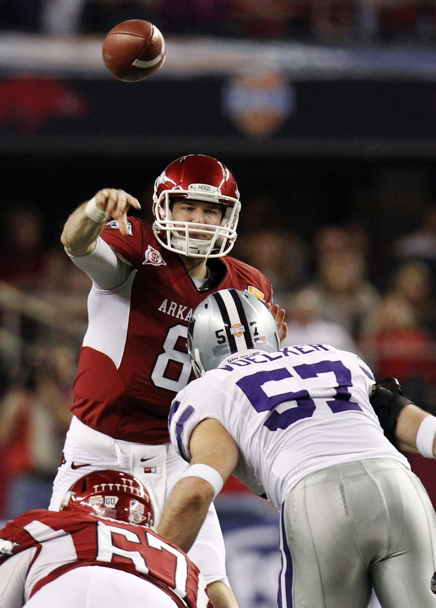 Arkansas quarterback Tyler Wilson (8) passes under pressure from Kansas State defensive end Jordan Voelker (57) during the first half of the Cotton Bowl, Friday, Jan. 6, 2012, in Arlington, Texas. (AP Photo/LM Otero)