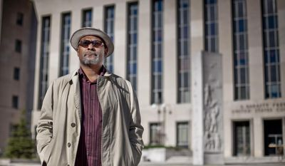 Ward 5 resident Zachary Sims, outside the U.S. District Courthouse on Friday where former D.C. Council member Harry Thomas Jr. pleaded guilty to tax fraud and stealing city funds (Andrew S. Geraci/The Washington Times)