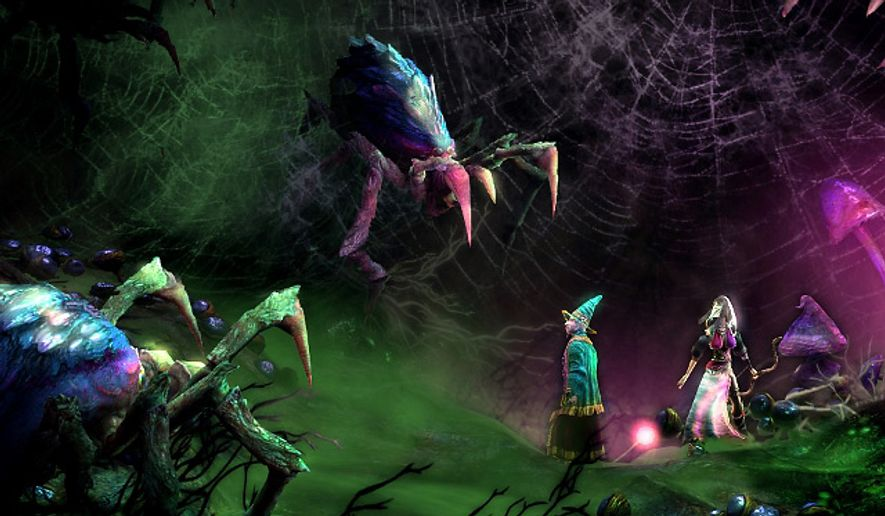 A wizard and thief fight spiders in the video game Trine 2.