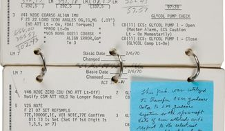 A key page from the Apollo 13 lunar module checklist shows calculations made by James Lovell that helped him and his crew navigate the damaged aircraft back to earth. NASA is questioning whether Mr. Lovell has the right to sell a 70-page checklist. The document was sold at auction in November for $388.000. The sale has been suspended pending the outcome of the inquiry. (Associated Press)