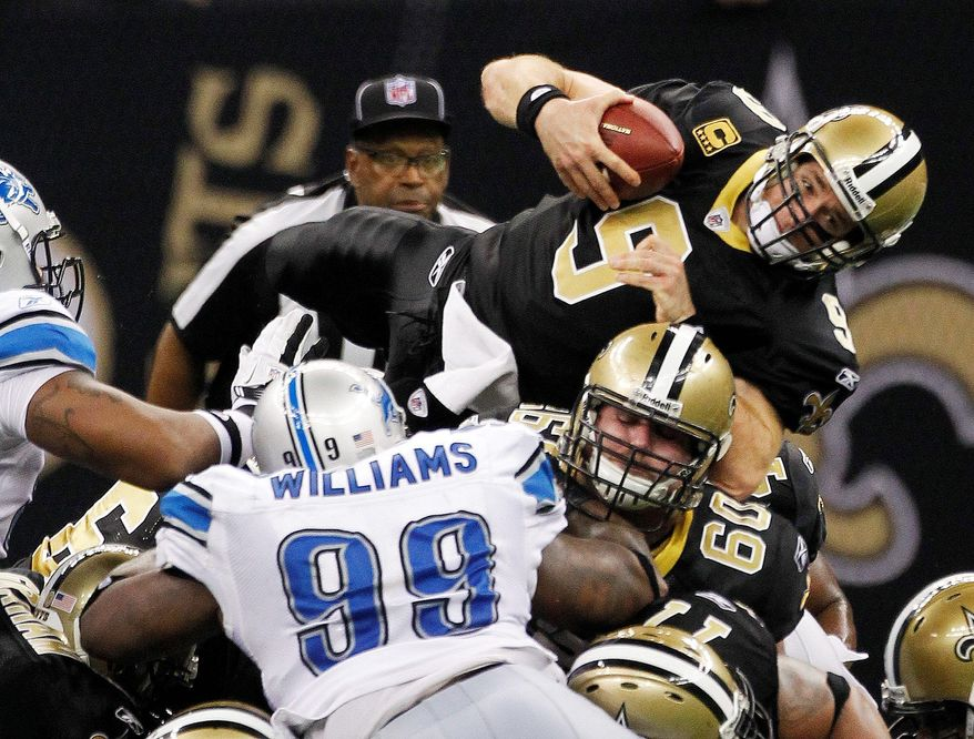 Quarterback Drew Brees led the Saints to touchdowns on five consecutive second-half possessions in Saturday night's 45-28 victory over the Lions. (Associated Press)