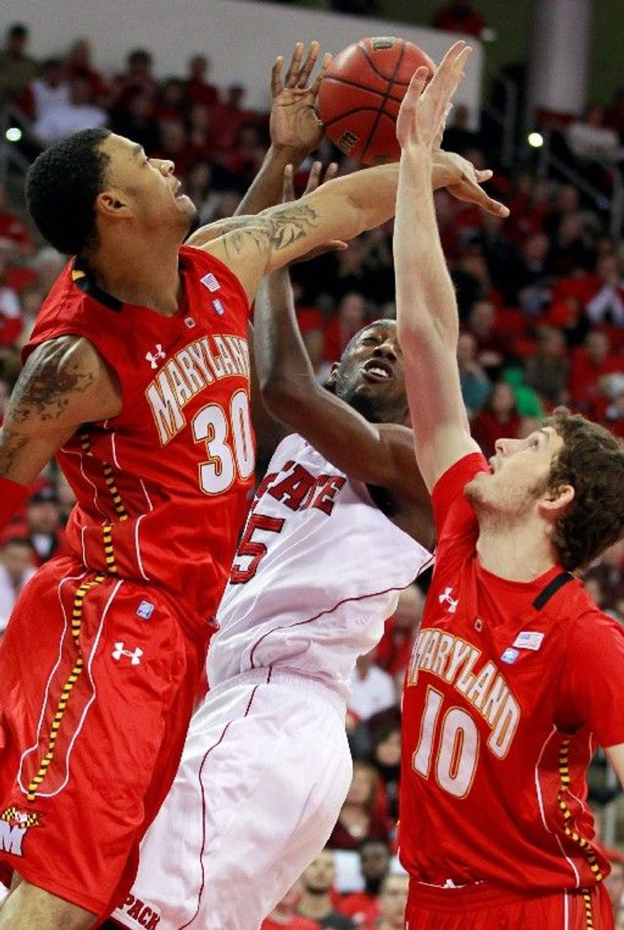 N.C. State's C.J. Leslie (5) scored 20 points and grabbed 11 rebounds. (Associated Press)